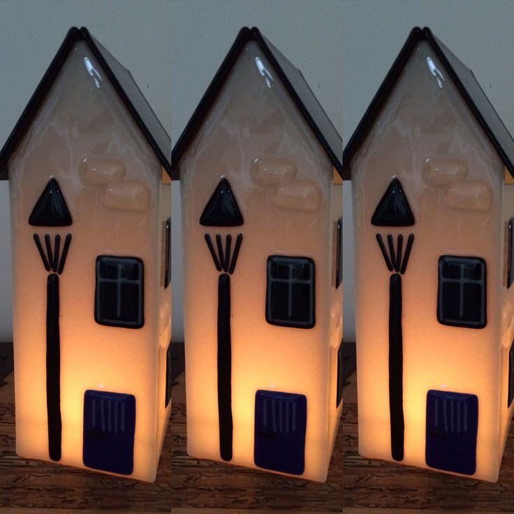 White houses with candle inside.