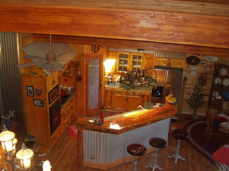 21 best images about corrugated metal decorating ideas on for Kitchen ideas for log homes