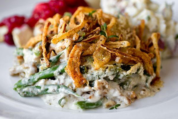 Savory French Green Bean Casserole with Parmesan-Mushroom Cream Sauce and Seasoned, Crispy-Fried Onions - Homemade - No Cans!