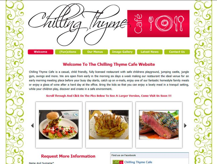 Website Design By DRAGAN GRAFIX - Licensed Restaurant, Functions Venue - Chilling Thyme Cafe is a casual, child friendly, fully licensed restaurant with safe childrens playground, jumping castle, jungle gym, swings and more. http://www.chillingthymecafe.co.za