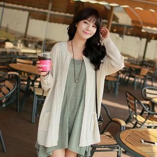 Cable-Knit Open-Front Cardigan from #YesStyle <3 CLICK YesStyle.com