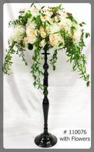 Black Stand 35 inch tall with 7 inch plate  with flowers  110076