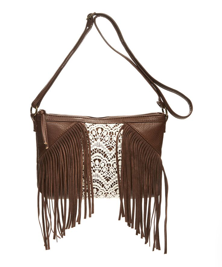 Love this T-Shirt & Jeans Brown Geo Fringe Crossbody Bag by T-Shirt & Jeans #zulilyfinds
