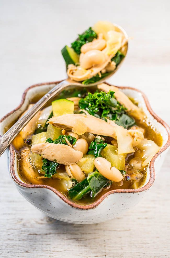 30-Minute Kale, White Bean, and Chicken Soup