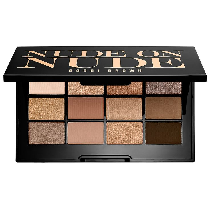 Bobbi Brown Nude On Nude Palette. A palette of 12 buildable shadows in three finishes for the ultimate nude eye look. This beautiful palette includes rich shadows for a range of nude looks. These silky matte, metallic, and sparkle powder shadows deliver subtle-to-sexy effects that last all day