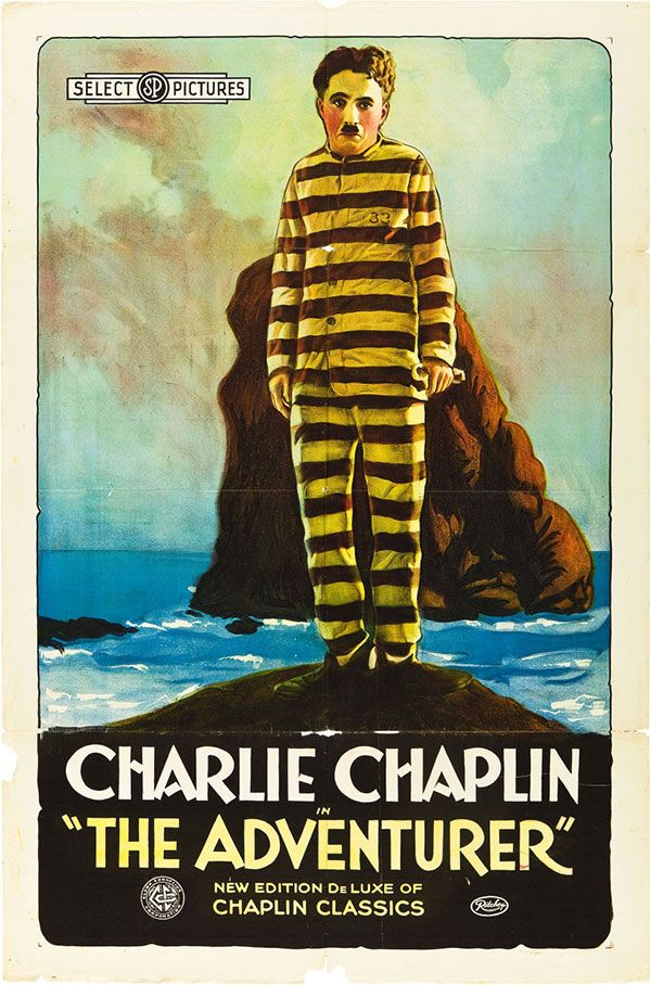 1920s re-release poster for THE ADVENTURER (Charles Chaplin, USA, 1917) Artist: uncredited Poster source: Heritage Auctions