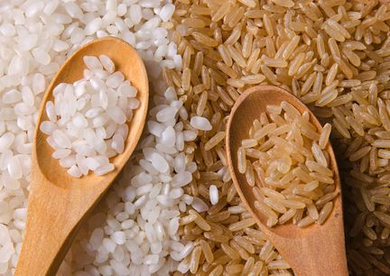 Brown rice only - This image shows exactly what white rice is just a stripped back bleached processed form of brown rice...Yuck!