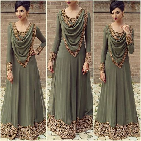Heyyy Everybadyyy so this was the outfit I wore at my sisters wedding yesterday! Designed by me and made by DOLI came out spot on! I will upload more images In'Sha'Allah! Antique scalloped cutwork design on khakee green material! Went for a very elegant look! Love you all! #FallusWedding