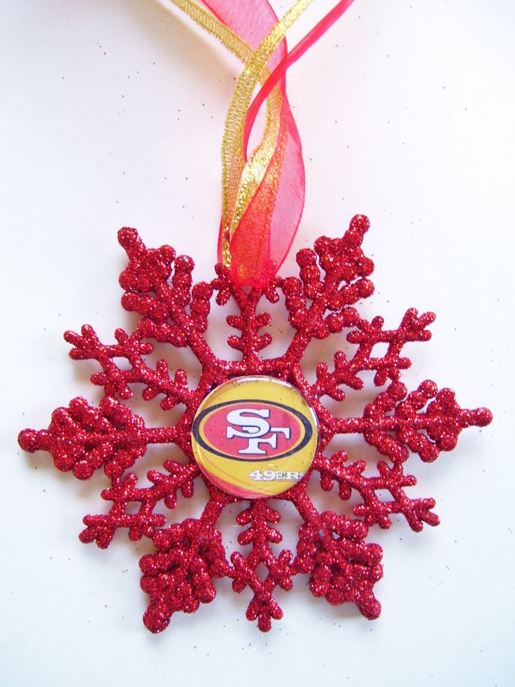 San Francisco 49ERS Football Fans!! Handmade Glitter Snowflake by ZZsTeamTime on Etsy