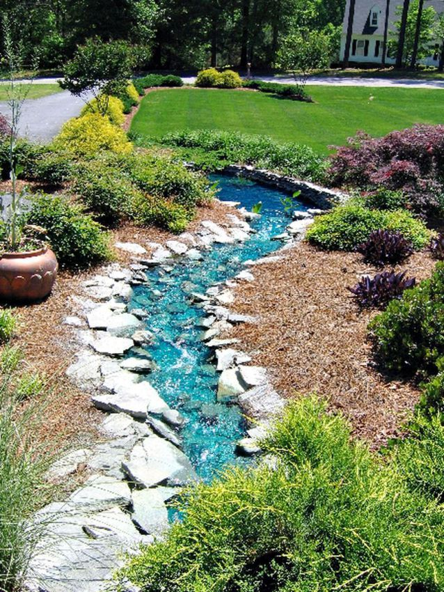 Lazy River Pool On Home Ideas 40 | Rock garden design ...