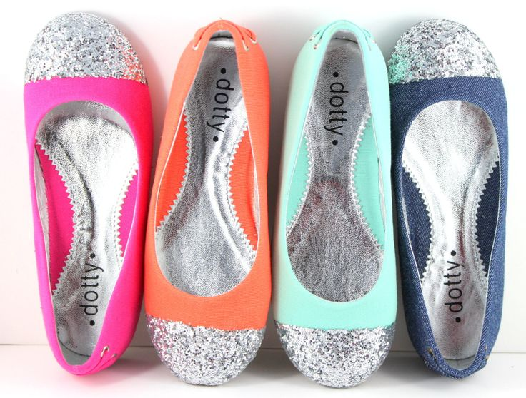 KIDS SHOES - Sparkle- Orange, Sea Blue, Fushia, and Denim Ballet flats  with Glitter Captoe by kaileep on Etsy