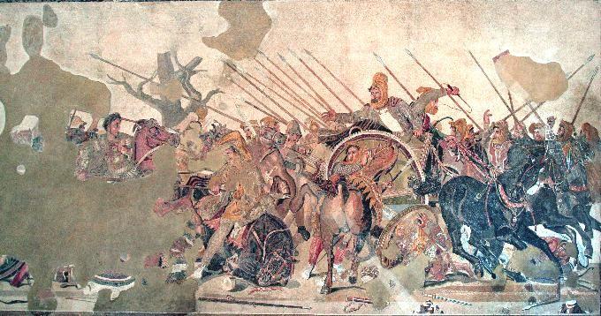 La Battaglia di Isso (o il mosaico di Alessandro)  100 a.C. circa.Da casa del fauno,Pompei.Oggi conservato presso il museo archeologico nazionale di Napoli.