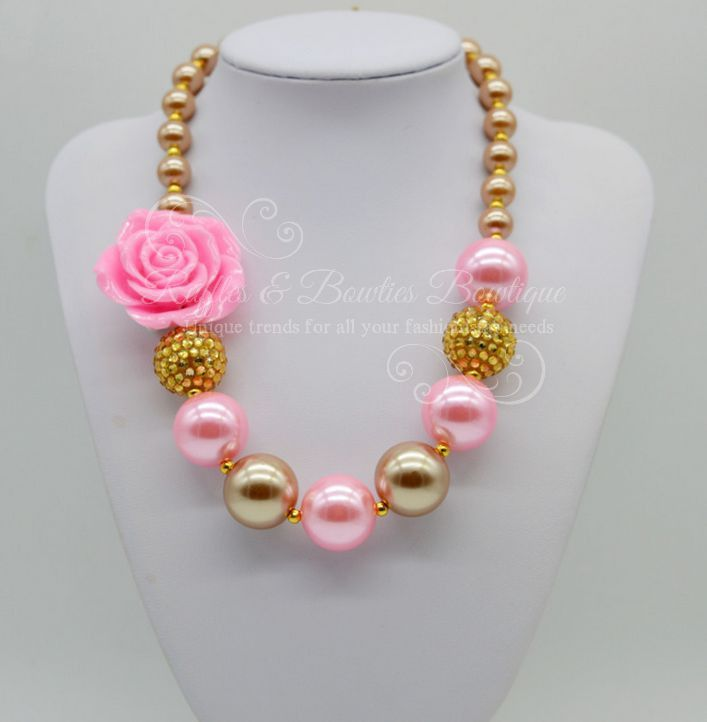 Gold & Pink Rose Bubble Gum Kids/Baby Necklace