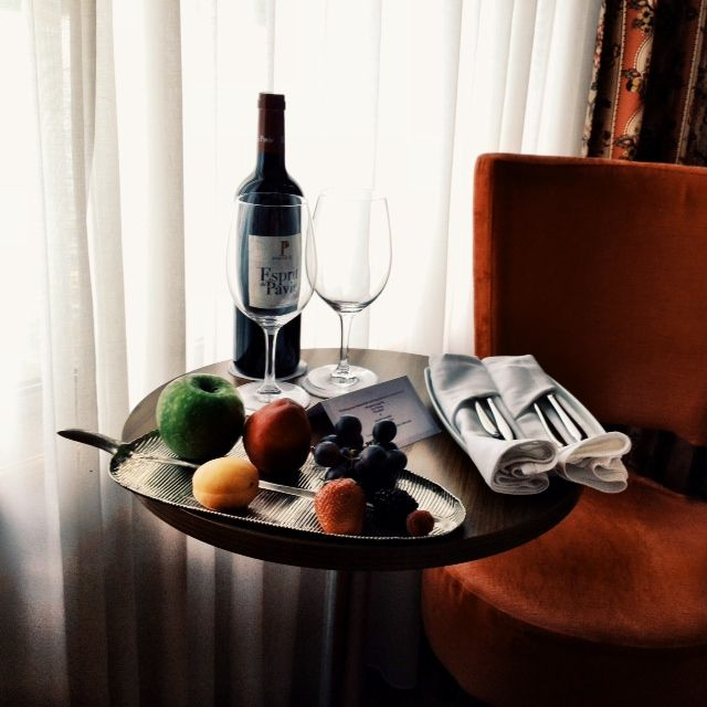Aboard the Uniworld River Royale, we were greeting by this fruit platter and wine in our stateroom on our France river cruise.