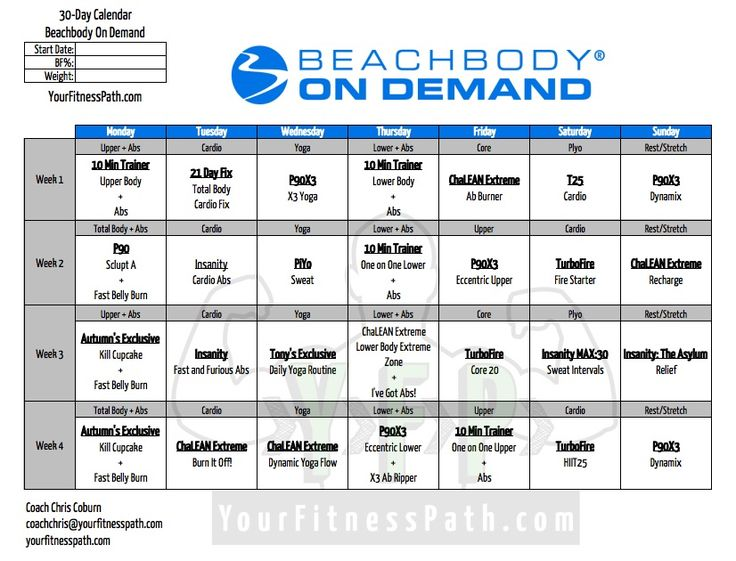 During the month of February, I worked with several people in a private Facebook group where they took advantage of the FREE 30 Day trial of the Beachbody Club membership, which includes access to On Demand. I put together a 4-week workout calendar that allowed the members of the group