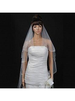 Voile de mariée deux couches chapelle longueur avec broderies  - EUR 5.52€