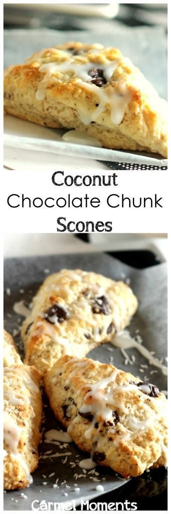 Coconut Chocolate Chunk Scones - Delicious scones studded with chocolate and coconut. Topped with a sweet glaze. Fabulous!