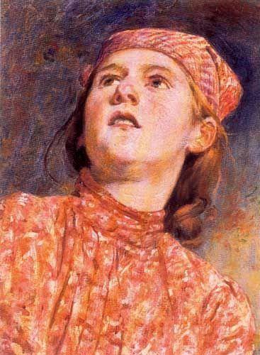 Girl with handkerchief, The gypsy-Pedro Lira (1845 – 1912, Chilean)