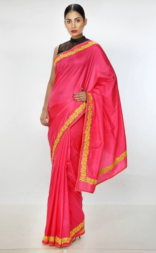 Pure Silk Pink Festive/ Party Saree with Embroidered Floral Border. For Price and more information, visit http://shopping.threadturner.com/sarees #ThreadTurner