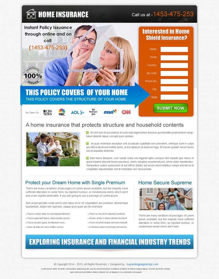 clean and converting home insurance policy lead capture landing page design