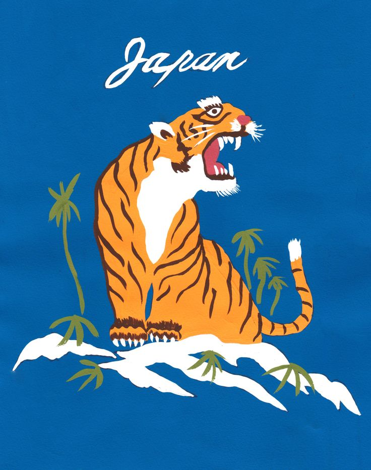 Stylish illustration of tiger on a blue background.