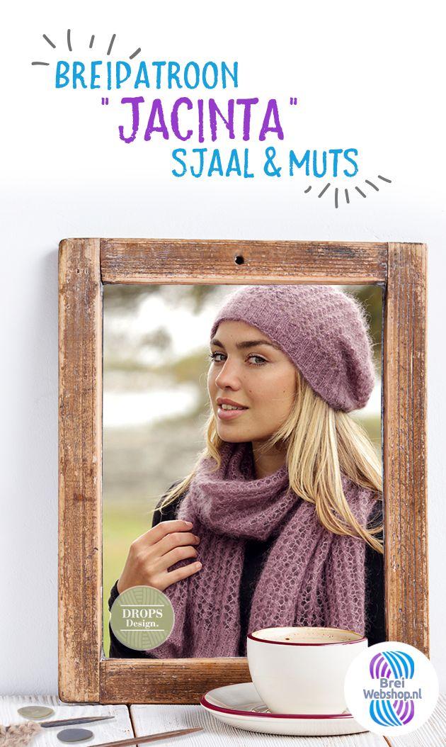 """Patroon Gebreide Sjaal/Muts """"Jacinta"""" - Drops Design - Dames - #Breiwebshop #breien #breipatroon #DIY"""
