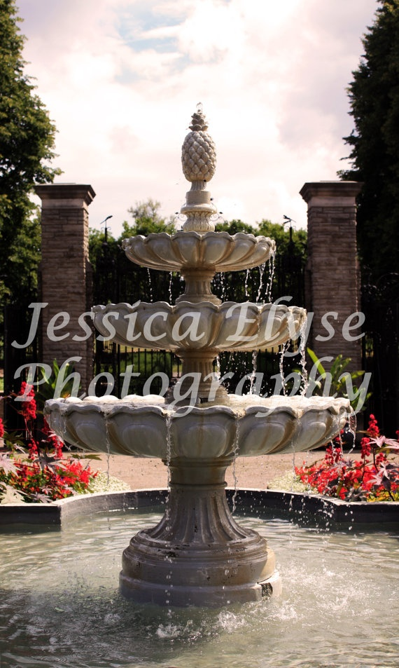 victorian style fountain at the heart of the by jessicaelysephotos, $30.00