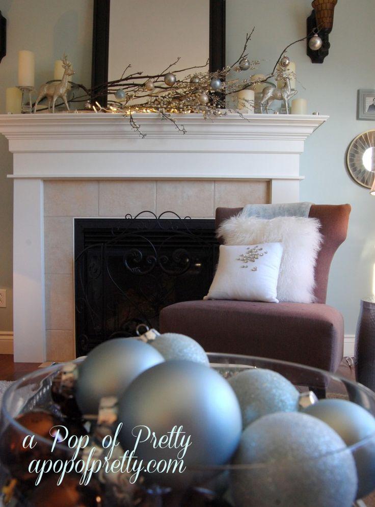 Christmas mantel - bulbs and branches. A Pop of Pretty, apopofpretty.com