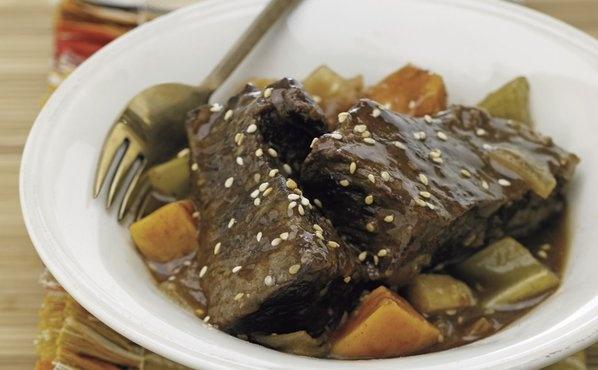 Sesame Root Beer Braised Short Ribs and Sweet Potatoes