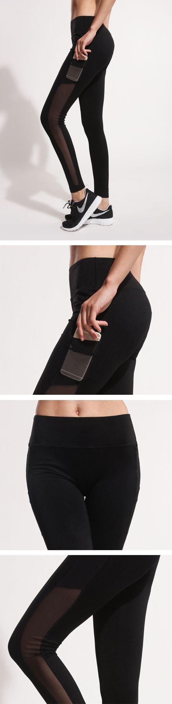 Women's Side Pockets Mesh Skinny Running Yoga Pants