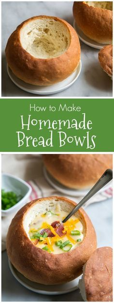 How to make Homemade Bread Bowls to fill with soup, stew, chili and even salad!  Recipe from RecipeGirl.com.