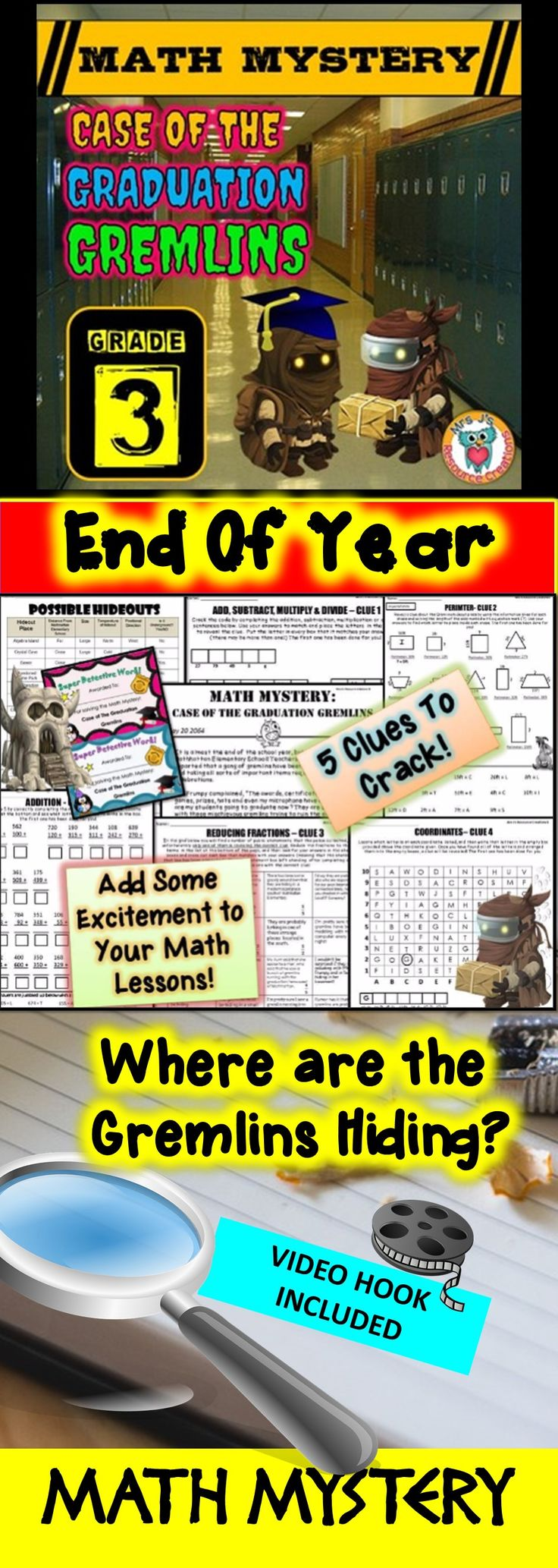 End of Year Math Mystery: Case of The Graduation Gremlins - Third Grade Version. Fun Math Review Activity! :)
