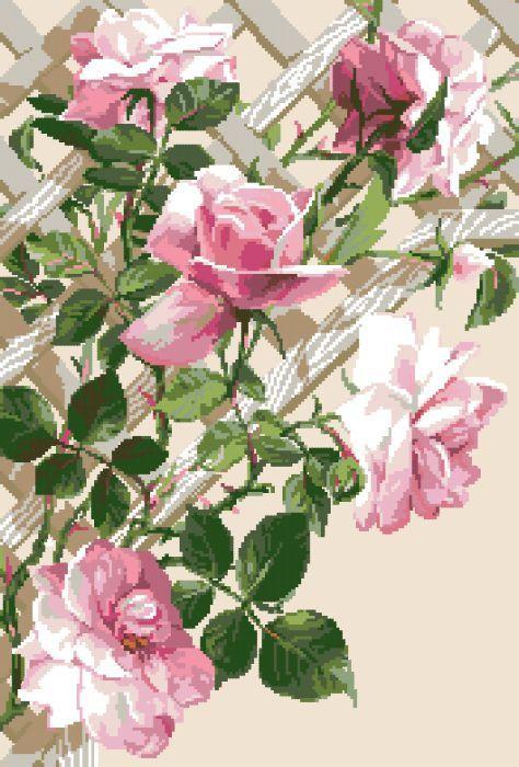 Рисунок на канве для вышивки нитками мулине 71453 Вьющиеся розы