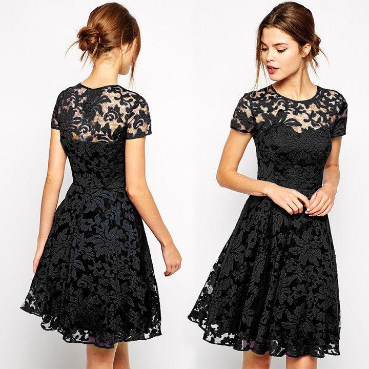 Fashion A-line Hollow Out Lace Knee-length Dress
