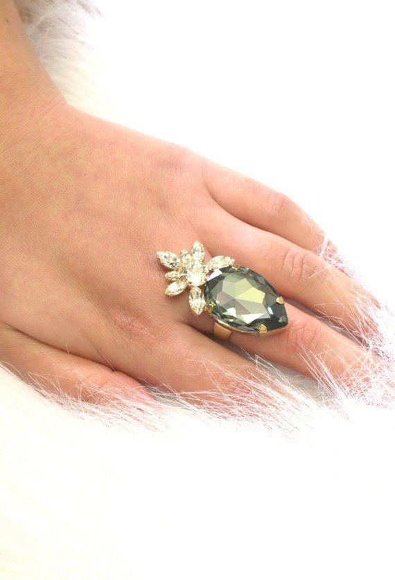 a2b178c042977 Gray Ring, Gray Cocktail Ring, Dark Gray Swarovski Crystal Ring ...