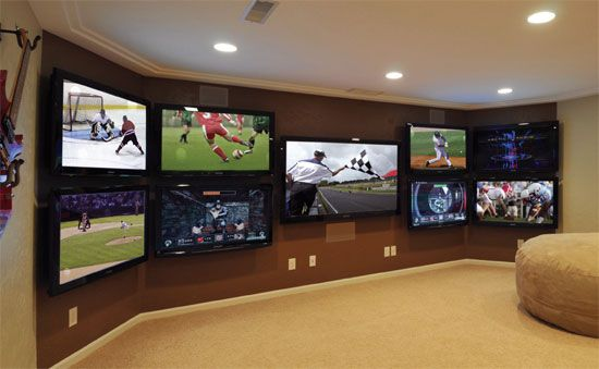 multiple tv setup for home with satellite | 15 Favorite Theaters for Watching Football. MAN CAVE!