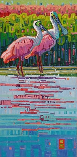 """""""Reflected Pair,"""" by Rene' Wiley by Rene' Wiley Gallery Oil ~ 40 x 20"""