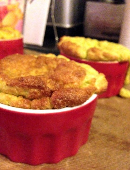 Savory souffle with green asparagus and cheese