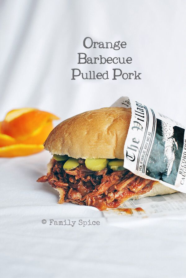 This orange barbecue pulled pork sandwich is full of orange flavor, using orange juice & orange zest. It is also easy to make in your slow cooker/crockpot.
