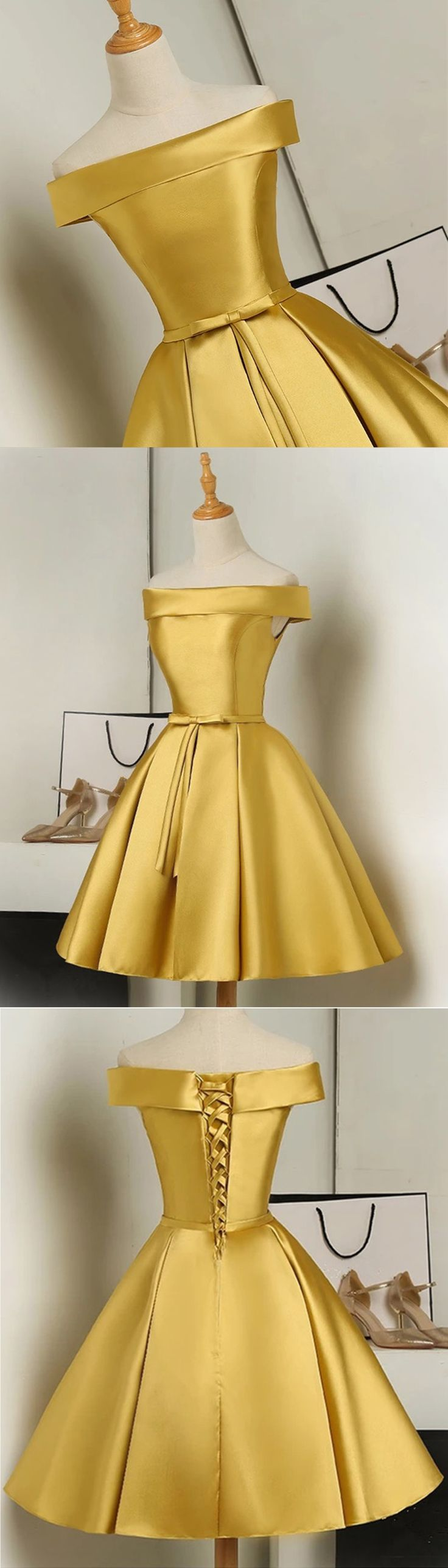 Golden satin short lace up strapless party dress with bowknot