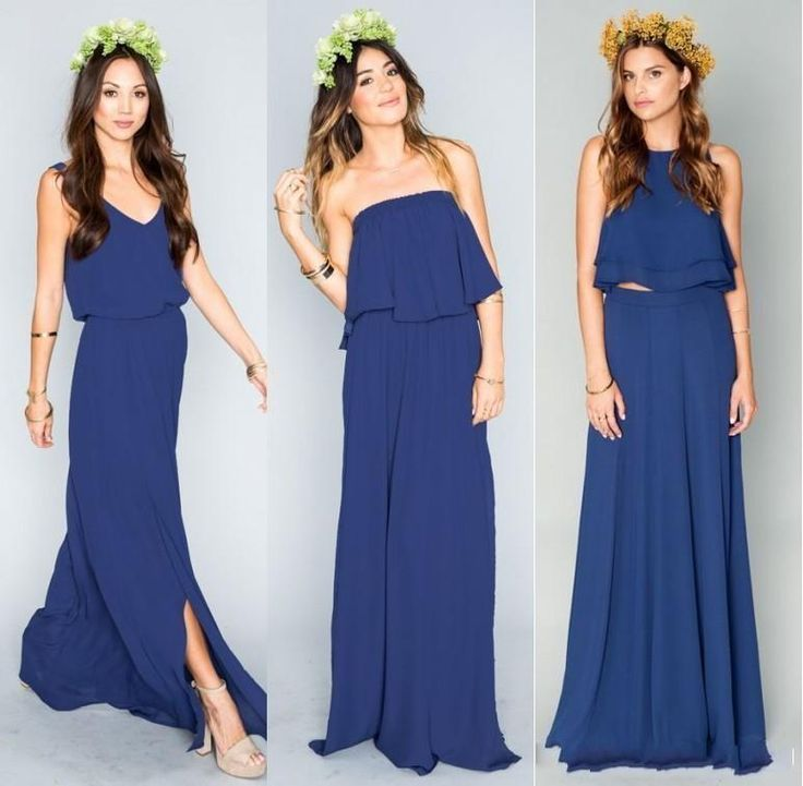 Long Beach Bridesmaid Dresses Simple Royal Blue Chiffon Mumu Bohemian 2016 New Cheap Two Pieces Junior Prom Wedding Party Gowns Plus Size Online with $50.26/Piece on Nameilishawedding's Store | DHgate.com