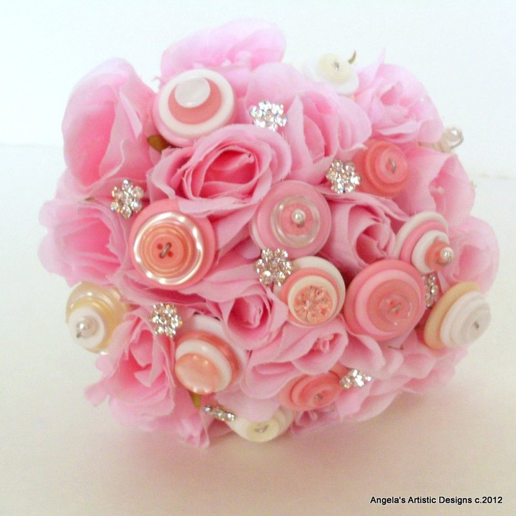Pink Rose Silk Flower Bouquet with buttons
