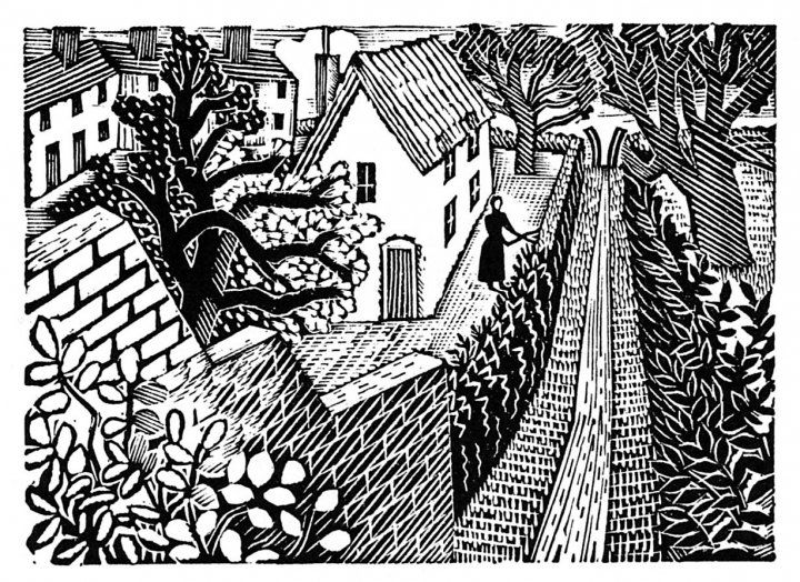 """Castle Hedingham"" by Eric Ravilious (wood engraving). The village pictured is where Ravilious and his family lived in the 1930s."