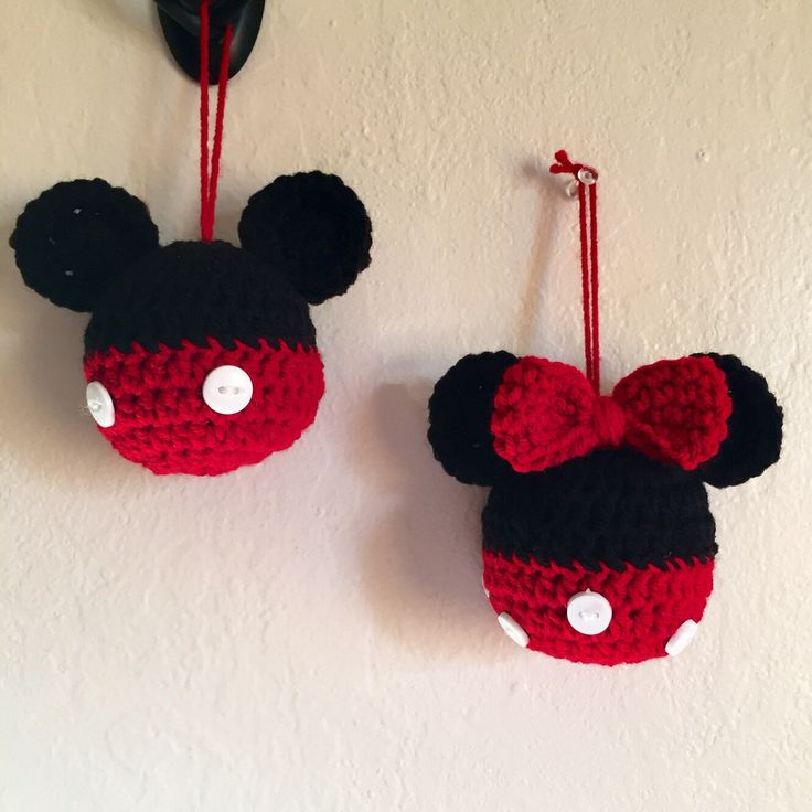 made to order Set of 2 crochet mickey and minnie mouse inspired ball ornaments 1 mickey 1 minnie by MorganBrynDesigns on Etsy https://www.etsy.com/listing/289607617/made-to-order-set-of-2-crochet-mickey