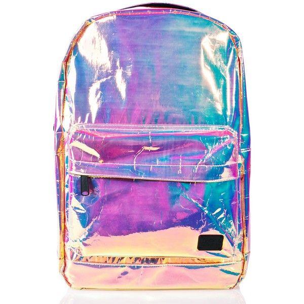 Spiral UK Holographic OG Backpack (£44) ❤ liked on Polyvore featuring bags, backpacks, hologram backpack, top handle bags, hologram bags, backpack bags and knapsack bag