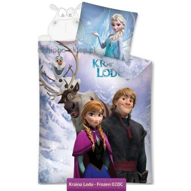 Kristoff and Anna with their friends snowman Olaf, reender Swen and Queen Elsa on bedding set form Disney Frozen movie| Pościel Kraina Lodu Anna i Kristoff #Disney_Frozen #Frozen_bedding #Girls_bedding