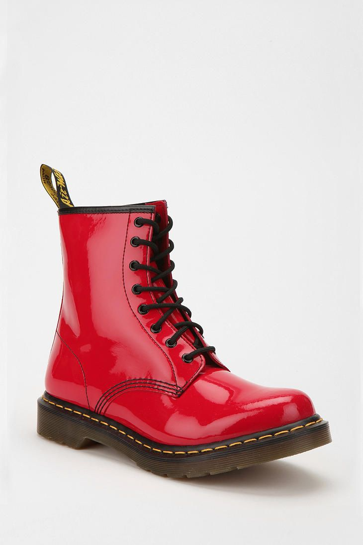 When I was a little girl, I had a pair of red boots that I loved more than anything.  These boots are the closest grownup match I have found.  Not the same, but similar.  Dr. Martens Patent 1460 Boot