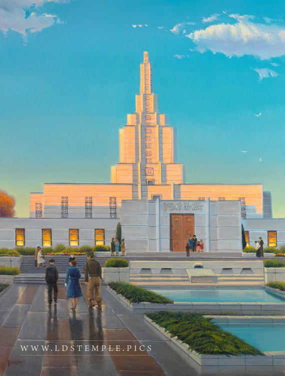 Idaho Falls Temple Historical Painting - A historical painting of the Idaho Falls Idaho Temple.