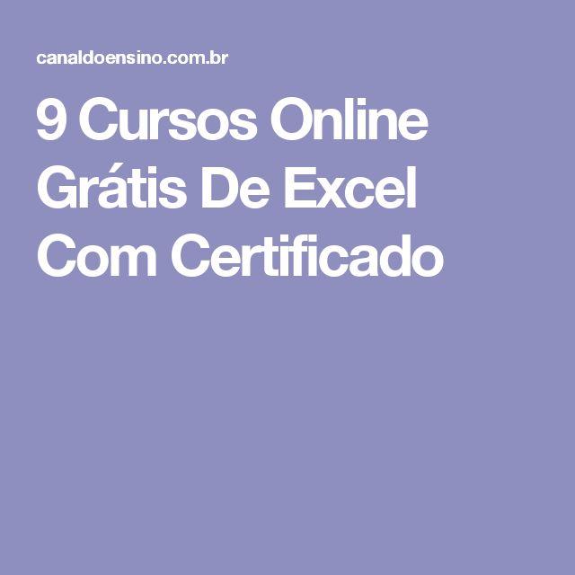 9 Cursos Online Grátis De Excel Com Certificado
