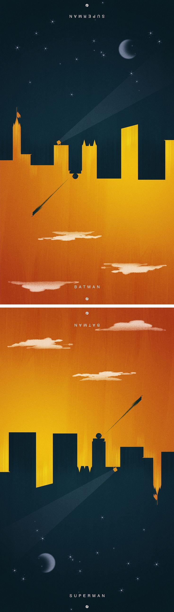 Dual Batman Vs. Superman Negative Space Art Poster - http://designerburst.com/dual-batman-vs-superman-art-poster/